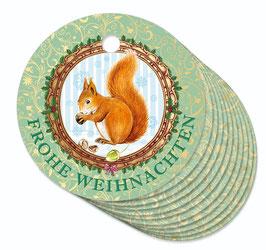 12 ANHÄNGER • Frohe Weihnachten • Eichhörnchen Nostalgie grün