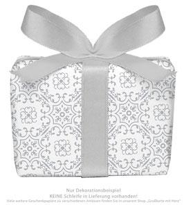3 Bögen Geschenkpapier groß - Ornamente - grau weiß