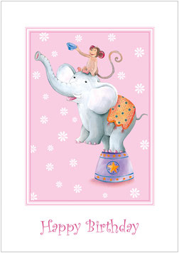 """Happy Birthday"" - Zirkus Elefant - Bunt"