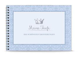 """DIN A5 KREATIV DIY ALBUM """"Meine Taufe - DIE SCHÖNSTEN ERINNERUNGEN"""" mit Krone blau (Spiralgebunden)"""