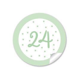 Adventskalenderzahlen - Sternchen - pastell grün