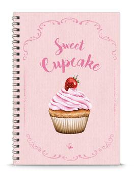 """NEU ! DIN A5 KREATIV DIY BACKBUCH """"Sweet Cupcake"""" zum Selbstbeschreiben rosa (Spiralgebunden)"""