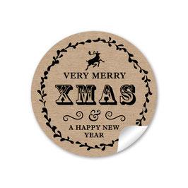 """Merry X Mas"" Vintage Retro NATUR SCHWARZ Kraftpapier Look"