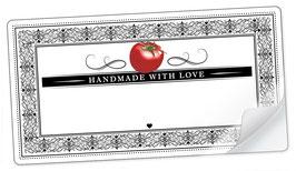 """10 Sticker rechteckig groß -""""Handmade with Love""""- Tomate Ornamente - mit Freitextfeld"""
