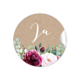 """Ja"" - Vintage Retro - Kraftpapier Look rot rosa grün braun"