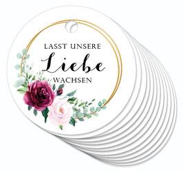 12 ANHÄNGER • Lasst unsere Liebe wachsen • Boho Rosen Ringe rot rosa