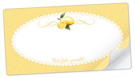 """10 Sticker rechteckig groß -""""Mit Liebe gemacht""""- Zitrone gelb - mit Freitextfeld"""