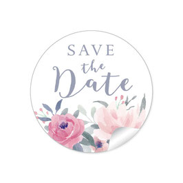 """Save the Date"" - Pastell Blüten rot rosa"