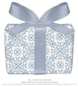 3 Bögen Geschenkpapier groß - Ornamente - blau weiß