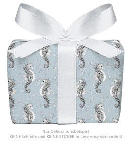 3 Bögen Geschenkpapier - Seepferdchen blau - gedruckt auf PEFC zertifiziertem Papier, 50 x 70 cm