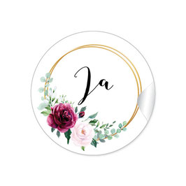 """Ja"" - Vintage Retro - Ringe Rosen rot rosa weiß grün"