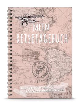 """NEU: DIN A5 KREATIV DIY TAGEBUCH """"MEIN REISETAGEBUCH"""" zum Selbstbeschreiben - rosa - (Spiralgebunden)"""