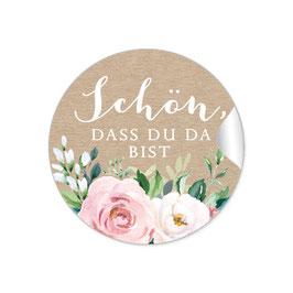 """""""Schön, dass du da bist"""" - Kraftpapier Look Rosen Zweige Grün rosa weiß"""
