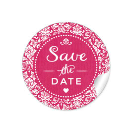 """Save the Date"" - Vintage  Retro Ornamente - fuchsia rot"
