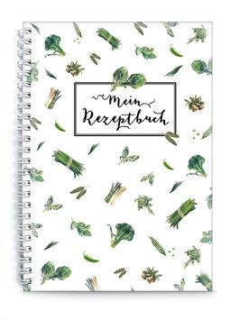 """DIN A5 KREATIV DIY KOCHBUCH """"Mein Rezeptbuch"""" zum Selbstbeschreiben GEMÜßE grün weiß (Spiralgebunden)"""