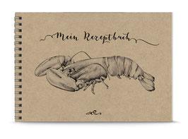 """NEU: DIN A5 KREATIV DIY KOCHBUCH """"Mein Rezeptbuch"""" HUMMER zum Selbstbeschreiben NATUR ECHTES KRAFTPAPIER (Spiralgebunden)"""