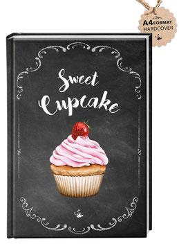 """DIN A4 KREATIV DIY BACKBUCH CUPCAKE """"Sweet Cupcake"""" zum Selbstbeschreiben schwarz Kreidetafel (Hardcover)"""