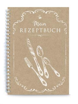 """NEU: DIN A5 KREATIV DIY KOCHBUCH """"Mein Rezeptbuch"""" zum Selbstbeschreiben NATUR ECHTES KRAFTPAPIER (Spiralgebunden)"""