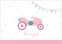 """It´s a girl!"" - Rennwagen - Rosa"