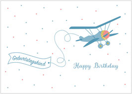 """Happy Birthday"" - Flugzeug - Blau"