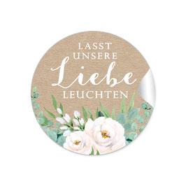 """""""Lasst unsere Liebe Leuchten""""- Kraftpapier Look Rosen weiß grün braun"""