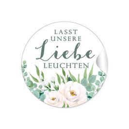 """""""Lasst unsere Liebe Leuchten""""- Rosen weiß grün"""