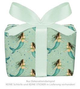 3 Bögen Geschenkpapier - Meerjungfrau grün - gedruckt auf PEFC zertifiziertem Papier, 50 x 70 cm