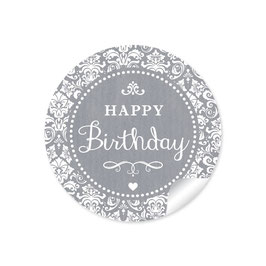 """Happy Birthday"" - Shabby Chic - grau"