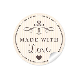 """Made with Love""- Vintage Retro Style - creme"