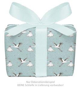 3 Bögen Geschenkpapier groß - Storch mit Baby Mint
