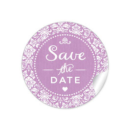 """Save the Date"" - Vintage  Retro Ornamente - dunkel lila"