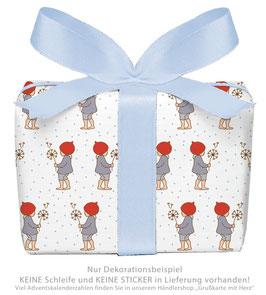 3 Bögen Geschenkpapier groß - WICHTEL - BLAU WEIß