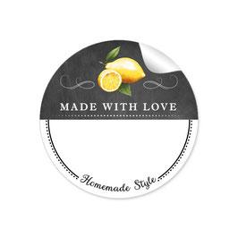 MADE WITH LOVE- HOMEMADE STYLE ZITRONE - Kreidetafel schwarz weiß - mit Freitextfeld BREIT