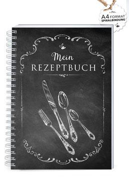 """NEU: DIN A4 KREATIV DIY KOCHBUCH """"Mein Rezeptbuch"""" BESTECK KREIDETAFEL (Spiralgebunden)"""