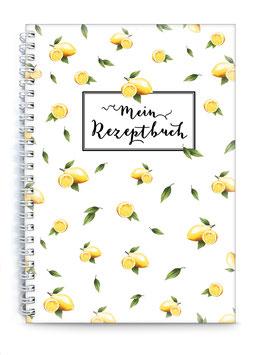 "DIN A5 KREATIV DIY KOCHBUCH ""Mein Rezeptbuch"" zum Selbstbeschreiben ZITRONE gelb weiß (Spiralgebunden)"