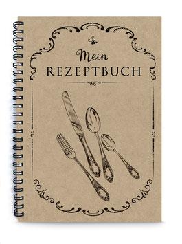 """NEU: DIN A5 KREATIV DIY KOCHBUCH """"Mein Rezeptbuch"""" zum Selbstbeschreiben SCHWARZ NATUR ECHTES KRAFTPAPIER (Spiralgebunden)"""