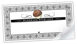 """10 Sticker rechteckig groß -""""Handmade with Love""""- Cupcake Ornamente - mit Freitextfeld"""