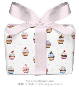 3 Bögen Geschenkpapier - Cupcake weiß - gedruckt auf PEFC zertifiziertem Papier, 50 x 70 cm