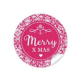 """Merry X mas"" -  Vintage Ornamente - fuchsia rot"