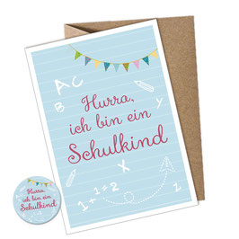 SET: 1 Postkarte + Button • HURRA ICH BIN EIN SCHULKIND BLAU