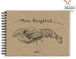 """NEU: DIN A4 KREATIV DIY KOCHBUCH """"Mein Rezeptbuch"""" HUMMER KRAFTPAPIER (Spiralgebunden)"""