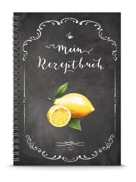 """COMING SOON ! DIN A5 KREATIV DIY REZEPTBUCH """"Mein Rezeptbuch"""" Zitrone schwarz Kreidetafel Look zum Selbstbeschreiben (Spiralgebunden)"""