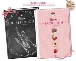 """GESCHENKSET: DIN A4 KREATIV DIY BACKBUCH  & KOCHBUCH """"Mein Backbuch & Mein Rezeptbuch"""" schwarz / rosa zum Selbstbeschreiben (Hardcover)"""