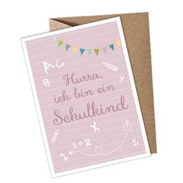 1 Postkarte + Umschlag • HURRA ICH BIN EIN SCHULKIND ROSA