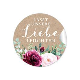 """Lasst unsere Liebe Leuchten""- Kraftpapier Look Rosen weiß rot grün braun"