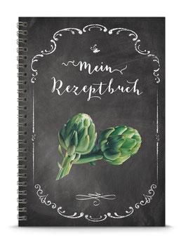 """COMING SOON ! DIN A5 KREATIV DIY KOCHBUCH """"Mein Rezeptbuch"""" Artischocken schwarz Kreidetafel Look zum Selbstbeschreiben (Spiralgebunden)"""