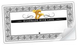 """10 Sticker rechteckig groß -""""Handmade with Love""""- Pfifferling Ornamente - mit Freitextfeld"""