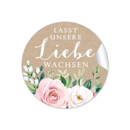 """""""Lasst unsere Liebe wachsen"""" - Kraftpapier Look Rosen Blüten Blätter rosa weiß grün"""
