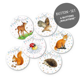 BUTTON SET MATT • 6 WALDTIERE WIMPEL
