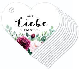 12 HERZ ANHÄNGER • Mit Liebe gemacht •  Boho Rosen rosa rot grün